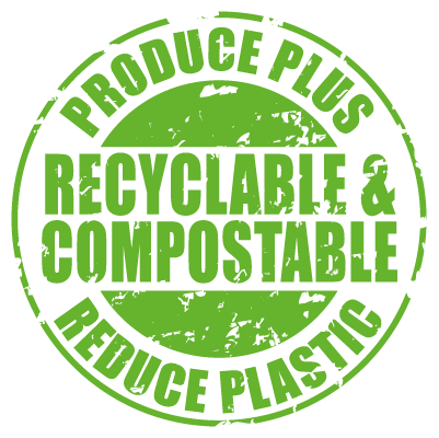 Produce Plus Recyclable and Compostable Reduce Plastic